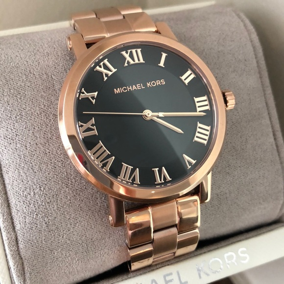 15a650af9d20 Michael Kors Norie Rose Gold Black dial watch NWT